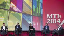 From left, Prince Edward Island Premier Robert Ghiz, Nova Scotia Premier Stephen McNeil, Ontario Premier Kathleen Wynne, New Brunswick Liberal Party Chief Brian Gallant, and Newfoundland/Labrador Liberal Party Chief Dwight Ball attend a panel discussion on day three of the federal Liberal party's biennial convention in Montreal, Saturday, February 22, 2014. (Graham Hughes/THE CANADIAN PRESS)