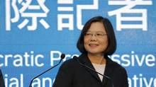 Democratic Progressive Party (DPP) Chairperson and presidential candidate Tsai Ing-wen announces her election victory to the media at their party headquarters in Taipei, Taiwan January 16, 2016. (DAMIR SAGOLJ/REUTERS)