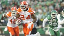 B.C. Lions running back Jeremiah Johnson (24) moves the ball up field against the Saskatchewan Roughriders during first half CFL action in Regina on Saturday, Oct. 29, 2016. (Mark Taylor/THE CANADIAN PRESS)