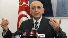 Tunisian Prime Minister Mohammed Ghannouchi delivers a speech during a press conference to announce his resignation on Feb. 27, 2011 in Tunis. (FETHI BELAID/FETHI BELAID/AFP/Getty Images)