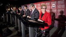 Liberal leadership candidates take to the stage at The Old Mill Inn and Spa in Toronto, Ont., for the final debate of the Ontario Liberal leadership race. (Tim Fraser For The Globe and Mail)