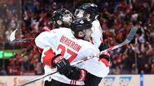 Team Canada's Patrice Bergeron celebrates his goal against Team Europe with teammates Brent Burns and Steven Stamkos during third period World Cup of Hockey finals action in Toronto on Thursday night. (Frank Gunn/THE CANADIAN PRESS)