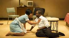 Alana Hibbert as Camae and Kevin Hanchard as Dr. Martin Luther King Jr. in Katori Hall's The Mountaintop. (David Cooper/Shaw Festival)