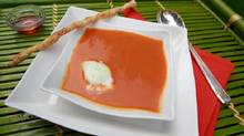 Chef Stephen Treadwells's red pepper soup is made with lime sorbet with chopped basil or mint. (Gloria Nieto/The Globe and Mail)