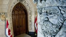 The doors to the Commons stand closed with the House in recess on March 14, 2011. (Sean Kilpatrick/THE CANADIAN PRESS)