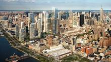 An aerial view from the south shows the Related Cos. Hudson Rail Yards development proposal on the West Side of New York in this artist's rendering. (BLOOMBERG NEWS)
