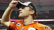 BC Lions quarterback Travis Lulay looks into the stands after defeating the Edmonton Eskimos during the second half of their CFL Western Conference Final football game in Vancouver, British Columbia, November 20, 2011. REUTERS/Ben Nelms (Ben Nelms/Reuters)