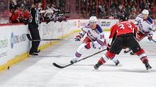 Oscar Lindberg of the New York Rangers skates against Fredrik Claesson of the Ottawa Senators at Canadian Tire Centre on April 8, 2017 in Ottawa. (Jana Chytilova/Freestyle Photo/Getty Images)