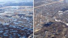 Aerial views of two sections of land in the Smith Creek Basin during high rainfall in April 2011. The section on the left has no artificial drainage, allowing water to pool up in small, shallow depressions. The section on the right shows the impact of an artificial drainage network, which clears the land of water and increases the flow rate downstream leading to higher water levels on the Assiniboine River. (University of Saskatchewan)