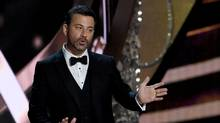 Host Jimmy Kimmel during the 68th Emmy Awards show on Sept. 18, 2016 at the Microsoft Theatre in downtown Los Angeles. (Valerie Macon/AFP/Getty Images)
