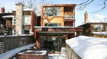 The rear view of house owned by Rosemary Bonnell and Laurent Mareschal, who recentlty added a third story to their house. (Photos by Dave LeBlanc For the Globe and Mail)