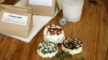 You can flavour your chèvre by lining the bottom of the mould with thyme, crushed peppercorns or chili flakes before spooning in the cheese to set. (Fernando Morales/The Globe and Mail)