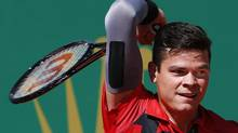Milos Raonic of Canada returns the ball to Tommy Robredo of Spain during the Monte Carlo Masters in Monaco April 17, 2014. (ERIC GAILLARD/REUTERS)