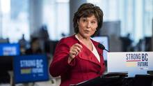 British Columbia Premier Christy Clark speaks in Vancouver on April 10, 2017. (JIMMY JEONG/THE CANADIAN PRESS)