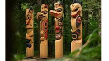 Totems in the Kitselas Canyon National Historic Site.