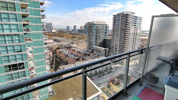 Toronto: 771 square feet, sold for $370,000. This two-bedroom, one-bath condo in Toronto's Liberty Village is in the midrange of the Toronto market – it sold near August's average sale price for a condo in the city