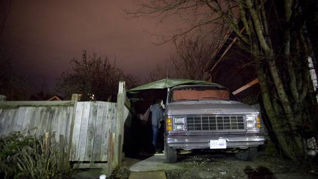 Mathew Arthur locks up his van before heading out for the night in Vancouver, British Columbia on February 15, 2013. (Ben Nelms For The Globe and Mail)