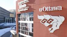 The Minto Sports Complex, home of the University of Ottawa Gee-Gees men's hockey team, is shown in Ottawa on March 3, 2014. (PATRICK DOYLE/THE CANADIAN PRESS)
