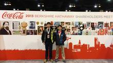 Alex Prieditis, left, with his brother Liam at the Berkshire Hathaway annual meeting. (Esme Kwong)