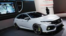 Honda Civic Hatchback prototype as seen at the 2016 Geneva Motor Show. (Matt Bubbers for The Globe and Mail)