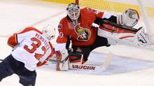 Ottawa Senators' Robin Lehner makes a save on a shot from Florida Panthers' Kris Versteeg during first period NHL hockey action in Ottawa on Saturday, Nov. 9, 2013. (Sean Kilpatrick/THE CANADIAN PRESS)