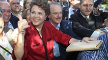 Brazilian President Dilma Rousseff has seen the country's surplus dwindle. (NABOR GOULART/AP)