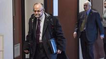 Brent Hawkes, left, walks with his lawyer Clayton Ruby, right, before his trial in Kentville, N.S. on Nov. 14, 2016. (Darren Calabrese/THE CANADIAN PRESS)