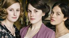 "(L-R): Laura Carmichael (Lady Edith Crawley), Michelle Dockery (Lady Mary Crawley), Jessica Brown-Findlay (Lady Sybil Crawley) are among the cast of ""Downton Abbey."""