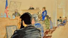 Omar Khadr sits in court for the sentencing phase of his trial on Oct. 26. (Janet Hamlin/Janet Hamlin)