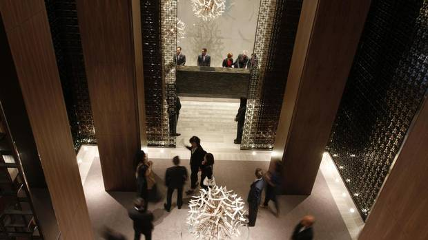 Opening day at the new Four Seasons Hotel in Toronto's Yorkville neighbourhood on Oct. 5. In the past year, four luxury hotels have opened in Toronto offering customized treatment starting at around $500 a night. (Fernando Morales/The Globe and Mail)