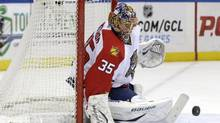 Florida Panthers goalie Jacob Markstrom makes a save during the second period of the NHL hockey game against the New York Islanders, Sunday, March 24, 2013, in Uniondale, N.Y. (Seth Wenig/AP)