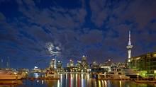 Auckland skyline at night.
