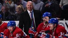 Claude Julien smiles behind the bench during a Feb. 18 game versus the Winnipeg Jets at the Bell Centre. (Minas Panagiotakis/Getty Images)