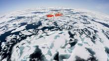 The Canadian Coast Guard icebreaker Louis S. St-Laurent makes its way through the ice in Baffin Bay, on July 10, 2008. (JONATHAN HAYWARD/ The Canadian Press/JONATHAN HAYWARD/ The Canadian Press)