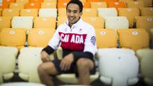 Gilmore Junio in the stands from where he watched the 1,000m race at the speed skating venue in the Sochi Olympic Park February 14, 2014. Gilmore Junio selflessly gave up his spot in the 1,000 metres to team mate Denny Morrison. (John Lehmann/The Globe and Mail) (John Lehmann/The Globe and Mail)