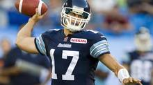 Toronto Argonauts quarterback Zach Collaros launches a pass against the B.C. Lions during first half CFL action in Toronto on Tuesday July 30, 2013. (Frank Gunn/THE CANADIAN PRESS)