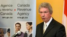 Then Revenue Minister Jean-Pierre Blackburn speaks to reporters at a news conference in Montreal Wedenesday, April 8, 2009. RCMP officers raided the offices of a Quebec construction company on Tuesday as part of a corruption investigation that has led to the arrests of two Canada Revenue Agency officials.THE CANADIAN PRESS/Ryan Remiorz
