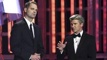 Television personalities Jay Onrait and Dan O'Toole speak during the 2014 NASCAR Sprint Cup Series Awards at Wynn Las Vegas on Dec. 5, 2014 in Las Vegas, Nevada. (Ethan Miller/Getty Images)