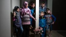 Fatima Hamsho, whose husband was killed in the Syrian civil war, and her five children now call Edmonton home after arriving from a refugee camp in 2014. (Amber Bracken for The Globe and Mail)