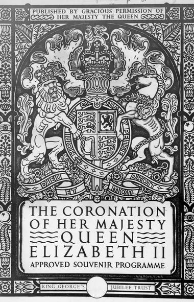 The cover design of the approved souvenir program of the Coronation of Queen Elizabeth II. The Canadian edition issued by King George's Jubilee Trust May 12, 1952 was sold for $1 dollar each. (The Associated Press)