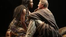 Yanna McIntosh as Cleopatra and Geraint Wyn Davies as Mark Antony in Stratford Festival's Antony and Cleopatra. Photo by David Hou. (David Hou)