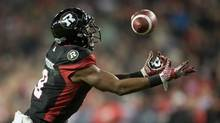 Ottawa Redblacks wide receiver Ernest Jackson (9) catches a touchdown pass during overtime CFL Grey Cup action Sunday, November 27, 2016 in Toronto. (Nathan Denette/THE CANADIAN PRESS)