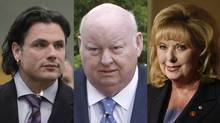 Patrick Brazeau, Mike Duffy and Pamela Wallin. (THE CANADIAN PRESS)