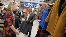Sir Philip Green of Topshop with Hudson's Bay Co. CEO and president Bonnie Brooks at the new Topshop location in Yorkdale Mall in Toronto. (Tim Fraser/Tim Fraser)