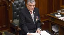 Lieutenant-Governor David Onley delivers the Throne Speech in Toronto on Feb. 19, 2013. (CHRIS YOUNG/THE CANADIAN PRESS)
