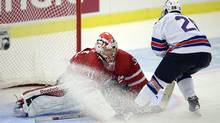 Canada's goaltender Zach Fucale makes a breakaway stop on USA's Connor Carrick (Frank Gunn/The Canadian Press)