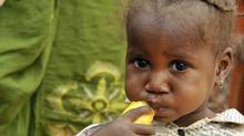 A girl eats mango on April 27, 2010 in the village of Daly, near Zinder. The UN's food agency doubled its aid on April 26, 2010 to Niger as thousands join a desperate exodus from parched farmland in western Africa's Sahel region, where 10 million people are facing hunger. (SIA KAMBOU/SIA KAMBOU/AFP/Getty Images)