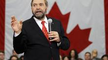 He's respected in Quebec, a federalist and loves a good fight. Will NDP Leader Thomas Mulcair be called upon to make the case for Canada if the PQ wins? (BLAIR GABLE/REUTERS)