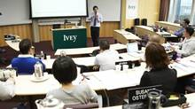 Prof. Stephen Sapp, Richard Ivey School of Business, in the University of Western Ontario's Hong Kong classroom. (Garrige Ho For The Globe and Mail)