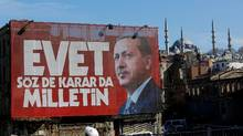 "A billboard carrying a picture of Turkish President Tayyip Erdogan and a slogan that reads: ""Yes. It is for the people to speak and to decide"" is seen on a building ahead of the constitutional referendum in Istanbul, Turkey April 13, 2017. REUTERS/Murad Sezer (MURAD SEZER/REUTERS)"
